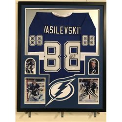 Andrei Vasilevskiy Signed Lightning 34x42 Custom Framed Jersey Display (JSA COA)