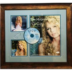 "Taylor Swift Signed ""Tim McGraw"" 19x21 Custom Framed Photo Display Inscribed ""Love"" with CD (JSA COA"