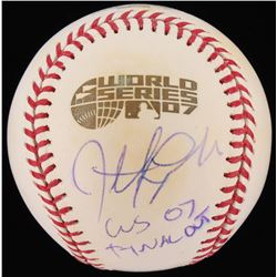 "Jonathan Papelbon Signed 2007 World Series Logo Baseball Inscribed ""WS 07 Final Out""  (MLB Hologram)"