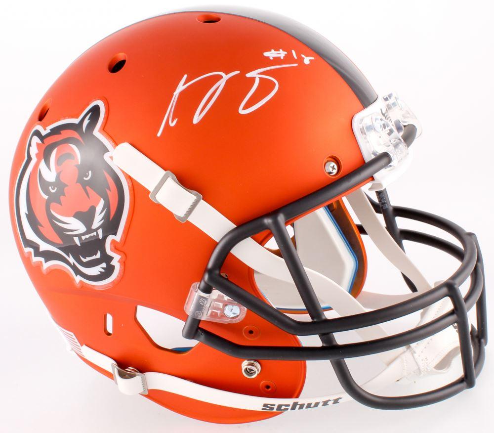 f8b079a16e7 Image 1 : A.J. Green Signed Bengals Full-Size Custom Satin Orange Helmet  (Beckett
