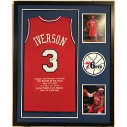 Allen Iverson Signed Pistons 34x42 Custom Framed Jersey Career Hihglight Stat Display (JSA COA)