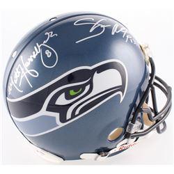 Shaun Alexander  Matt Hasselbeck Signed Seahawks Full-Size Authentic On-Field Helmet (Mounted Memori