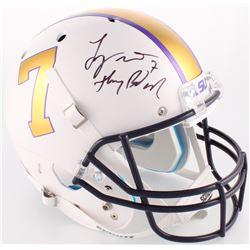 "Tyrann Mathieu Signed LSU Tigers Full-Size Helmet Inscribed ""Honey Badger"" (Beckett COA)"