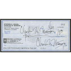 Charles Manson Signed Personal Bank Check (JSA LOA)