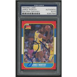 James Worthy Signed 1986-87 Fleer #131 RC (PSA Encapsulated)