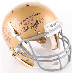 Rudy Ruettiger Signed Notre Dame Fighting Irish Full Size Helmet with (3) Inscriptions (Beckett COA)