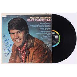 "Glen Campbell Signed ""Wichita Lineman"" Vinyl Record Album (JSA COA)"