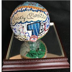 Mickey Mantle  Willie Mays Signed LE Baseball Hand-Painted by Charles Fazzino with High Quality Disp
