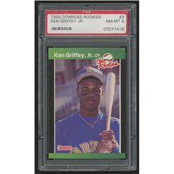 1989 Donruss Rookies #3 Ken Griffey Jr. (PSA 8)