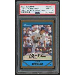 2007 Bowman Draft Future's Game Prospects Gold #BDPP77 Clayton Kershaw (PSA 8)