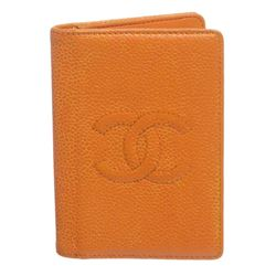 Chanel Orange Caviar Leather CC Logo Small Bifold Cardholder Wallet