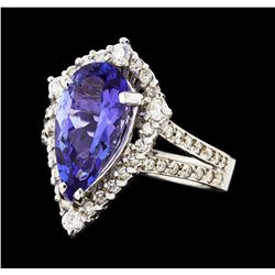 3.13 ctw Tanzanite and Diamond Ring - 14KT White Gold
