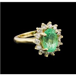 3.15 ctw Emerald and Diamond Ring  - 14KT Yellow Gold