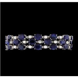 55.52 ctw Sapphire and Diamond Bracelet - 14KT White Gold