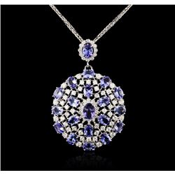14KT White Gold 18.08 ctw Tanzanite and Diamond Pendant With Chain