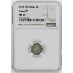 1852 Germany Bavaria Kreuzer Coin NGC MS65