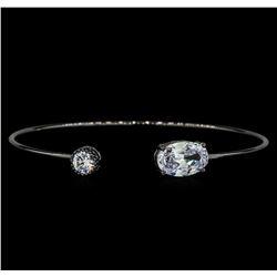 CZ Open Bangle Bracelet - Black Rhodium Plated