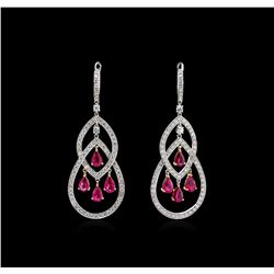 4.12 ctw Ruby and Diamond Earrings - 18KT Two-Tone Gold