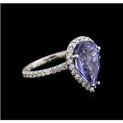 4.33 ctw Tanzanite and Diamond Ring - 14KT White Gold