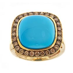 8.15 ctw Turquoise and Diamond Ring - 14KT Yellow Gold