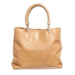 Chanel Beige Leather CC Large Tote Shoulder Handbag