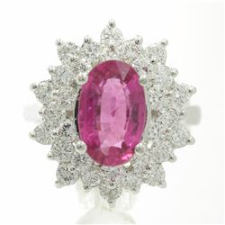 3.66 Carat Round Cut Rubellite Diamonds Oval Cut Flower Ring 14k White Gold