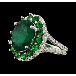4.54 ctw Emerald, Tsavorite and Diamond Ring - 14KT White Gold