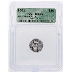 2001 $10 Platinum American Eagle Coin ICG MS69