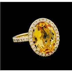 4.80 ctw Citrine and Diamond Ring - 14KT Yellow Gold