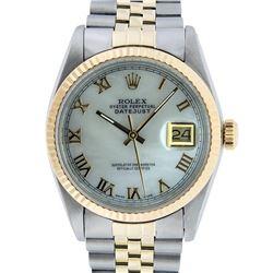 Rolex Mens 2 Tone 14K Mother Of Pearl Roman Datejust Wristwatch