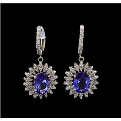 14KT White Gold 4.08 ctw Tanzanite and Diamond Earrings