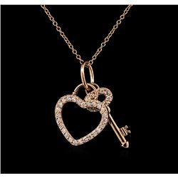 0.45 ctw Diamond Necklace - 14KT Rose Gold