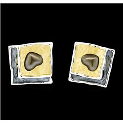 Hand Painted Square Earrings - Rhodium Plated