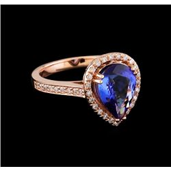 2.50 ctw Tanzanite and Diamond Ring - 14KT Rose Gold