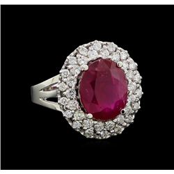 GIA Cert 5.91 ctw Ruby and Diamond Ring - 14KT White Gold