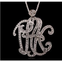 14KT White Gold 4.50 ctw Diamond Monogram Pendant With Chain