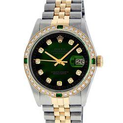 Rolex Mens 2 Tone 14K Green Vignette Diamond & Emerald Datejust Wristwatch