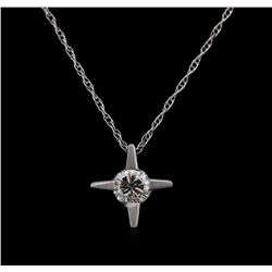 0.20 ctw Diamond Pendant With Chain - 14KT White Gold