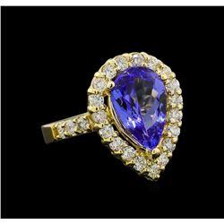 3.46 ctw Tanzanite and Diamond Ring - 14KT Yellow Gold