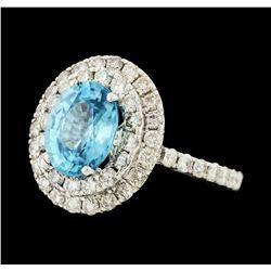 4.11 ctw Blue Zircon and Diamond Ring - 14KT White Gold
