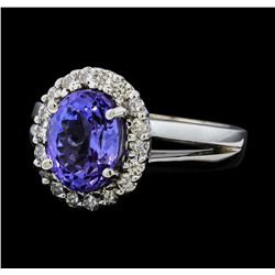 3.11 ctw Tanzanite and Diamond Ring - 14KT White Gold