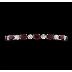 18.68 ctw Ruby and Diamond Bracelet - 14KT White Gold