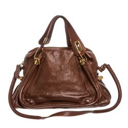 Chloe Brown Leather Paraty Medium Satchel Handbag