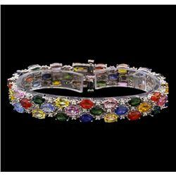 14KT White Gold 24.48 ctw Multicolor Sapphire and Diamond Bracelet