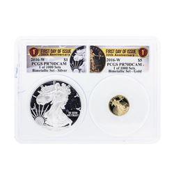 2016-W American Silver & Gold Eagle 30th Anniversary Proof Bimetallic Set PCGS P