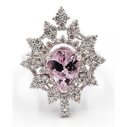2.87 Carat Pear Cut Morganite Diamond Wedding Engagement Ring in 14k White Gold