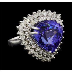 12.81 ctw Tanzanite and Diamond Ring - 14KT White Gold