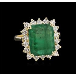 4.15 ctw Emerald and Diamond Ring - 14KT Yellow Gold