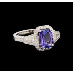 14KT White Gold 1.94 ctw Tanzanite and Diamond Ring