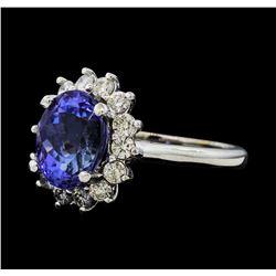 4.03 ctw Tanzanite and Diamond Ring - 14KT White Gold
